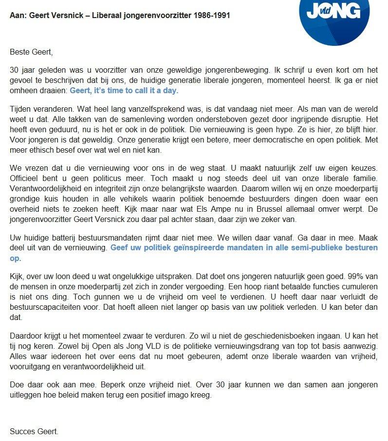 Open brief van Jong VLD aan Geert Versnick - jong vld