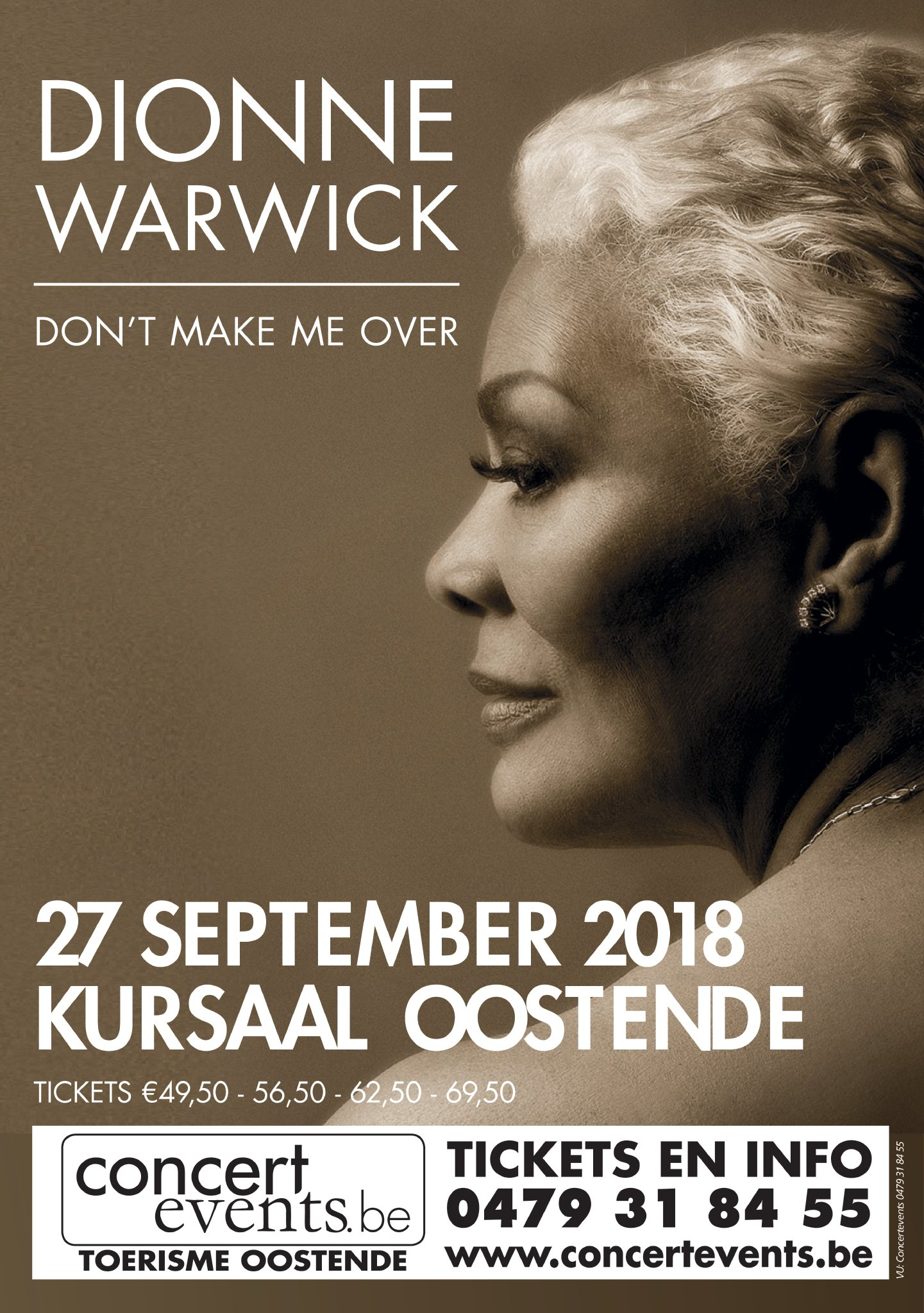 Soullegende Dionne Warwick komt 27 september 2018 naar Kursaal Oostende. - Affiche DionneWarwick Oostende preview