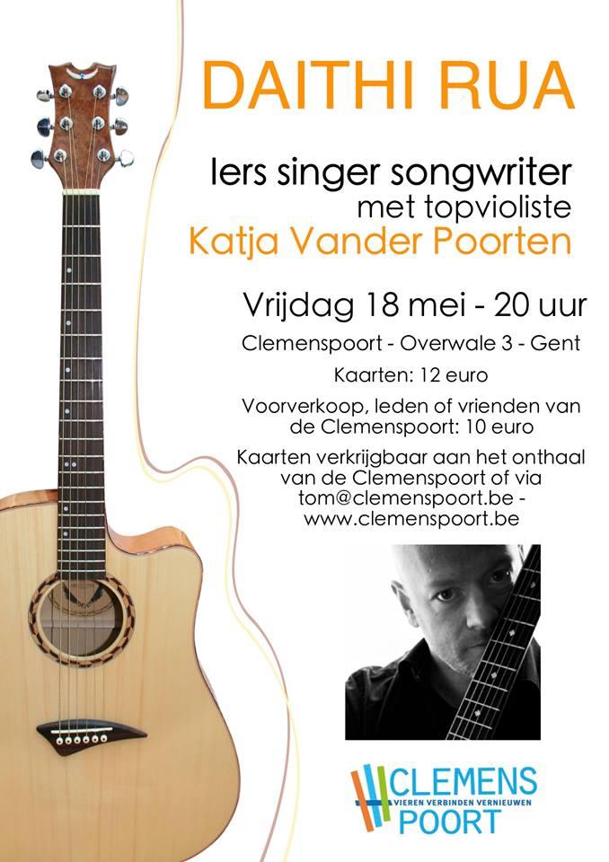 Daithi Rua met mooie liedjes en fijne verhalen op het podium in Gent - Daithi Rua
