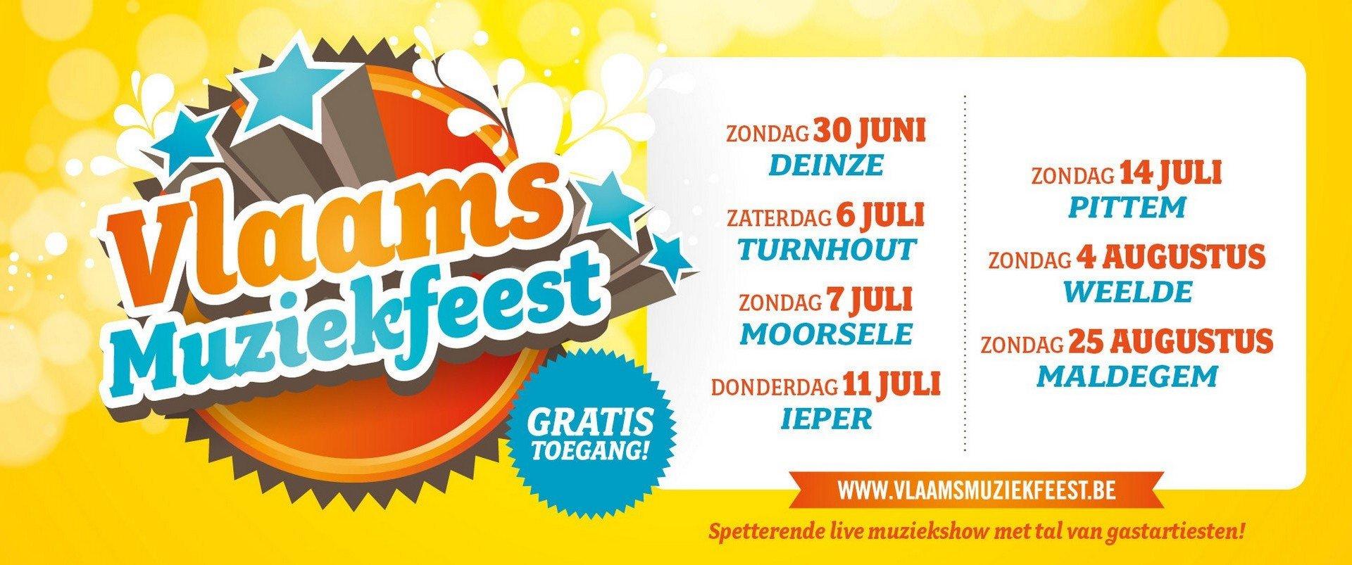7de Vlaams Muziekfeest strikt o.a. De Romeo's, Lindsay, Swoop en Jo Vally - Logo Vl. muziekfeest 2019