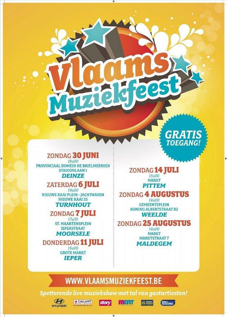 7de Vlaams Muziekfeest strikt o.a. De Romeo's, Lindsay, Swoop en Jo Vally - affiche Vlaams Muziekfeest