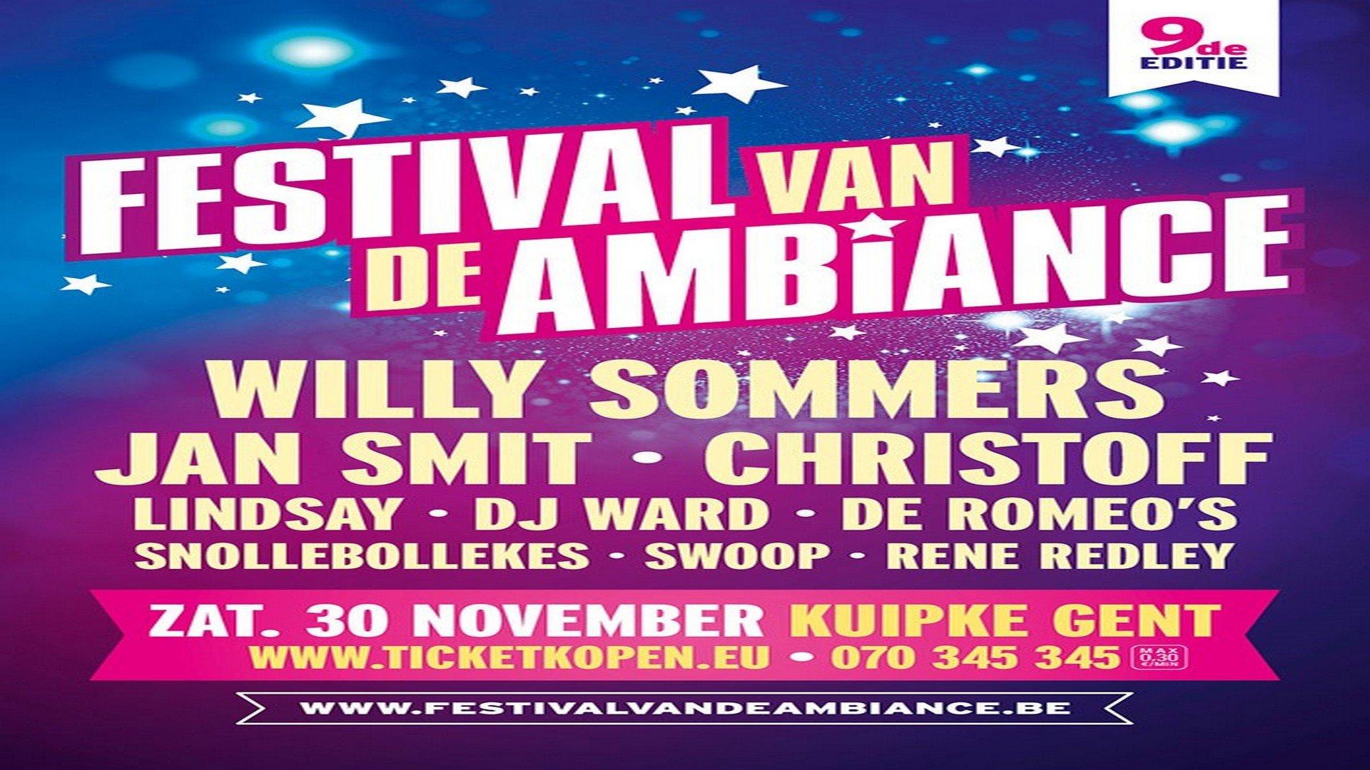 Christoff, Swoop, DJ Ward, Rene Redley en Jan Smit komen naar het Gentse 'Festival van de Ambiance' - Affiche Festival van de ambiance 2019