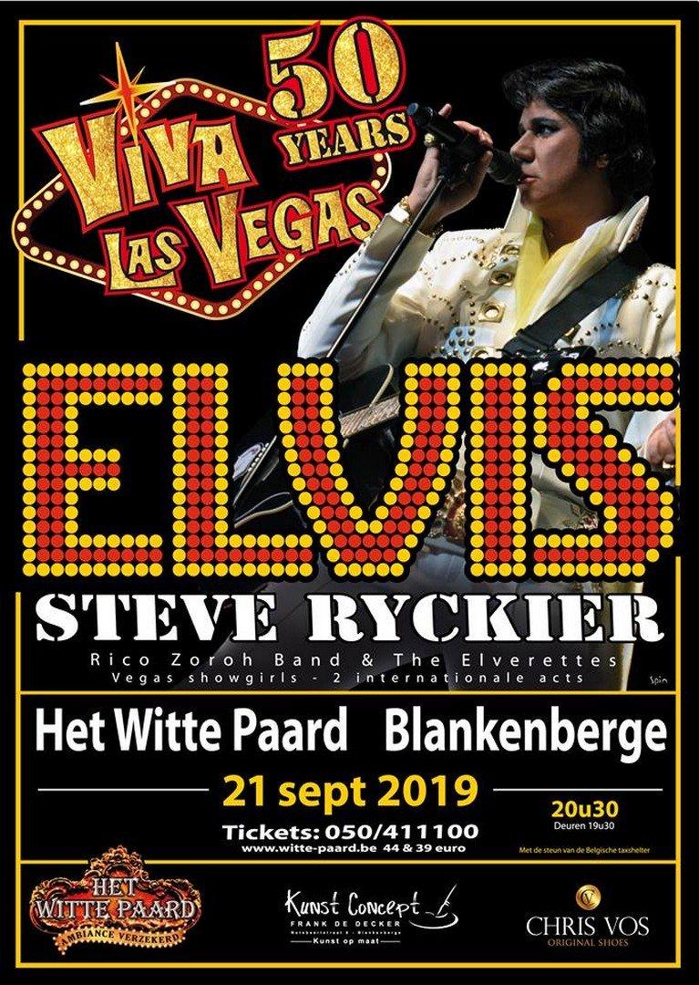 Elvis (Steve Ryckier) zet Witte Paard in vuur en vlam - Affiche Steve Ryckier Elvis 50 Years Las Vegas