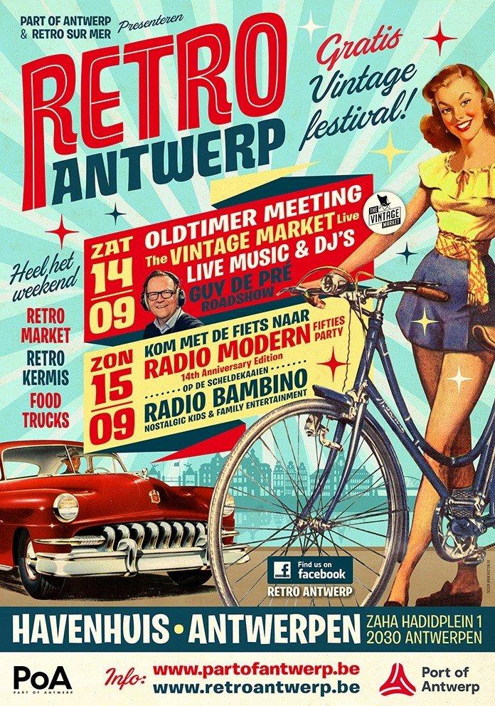 Gratis event Retro Antwerp rolt dit weekend de rode loper uit voor Guy De Pré - Affiche retro Antwerp 1