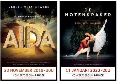 'Aïda' (23/11) en 'De Notenkraker' (11/01) naar Concertgebouw Brugge. - Affiche ballet Brugge