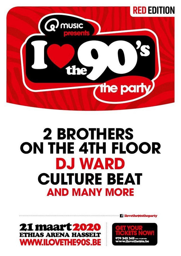 Culture Beat, 2 Brothers on the 4th Floor en DJ Ward staan op 21 maart op I love the 90's - Affiche I Love the 90s 2020