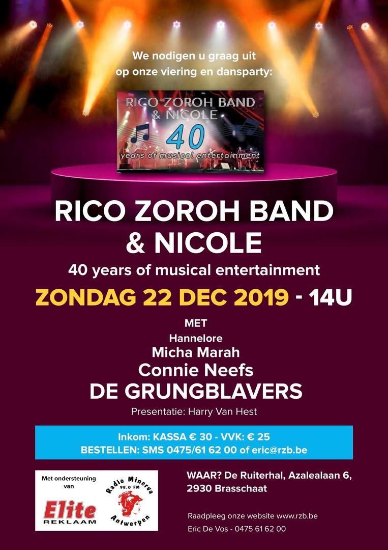 Rico Zoroh band blaast 40 kaarsjes uit - Affiche 40 jaar Rico Zoroh Band