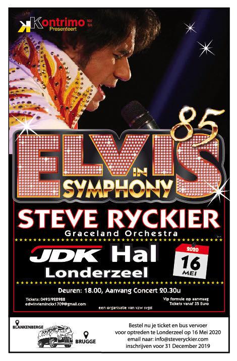Elvis (Steve Ryckier) komt naar Londerzeel op 16 mei 2020 - Affiche Elvis in symphony 85