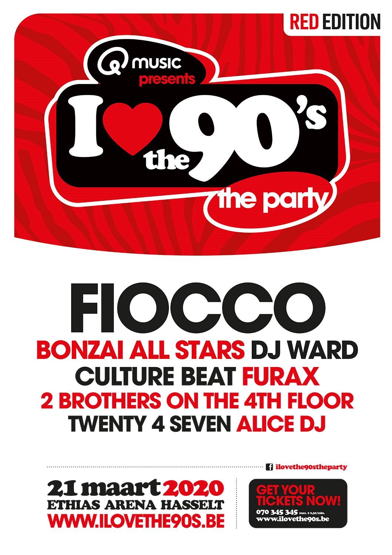 I love the 90's zorgt op 21 maart voor een MEGAstunt - Affiche I Love The 90s met Fiocco