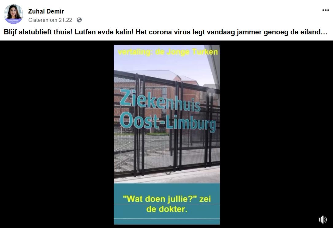 De helft van de coronapatienten in ziekenhuis Oost-limburg zijn van Turkse origine - zuhal demir
