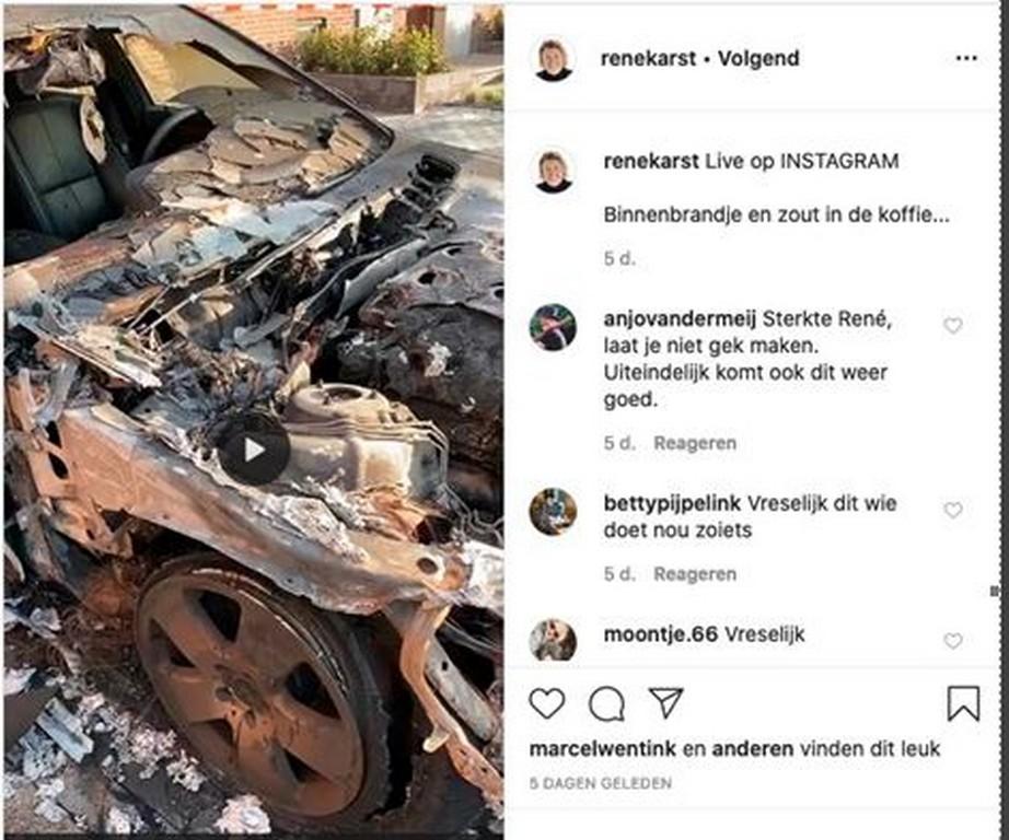 Na corona zag René Karst zijn auto uitbranden - René Karst autobrand
