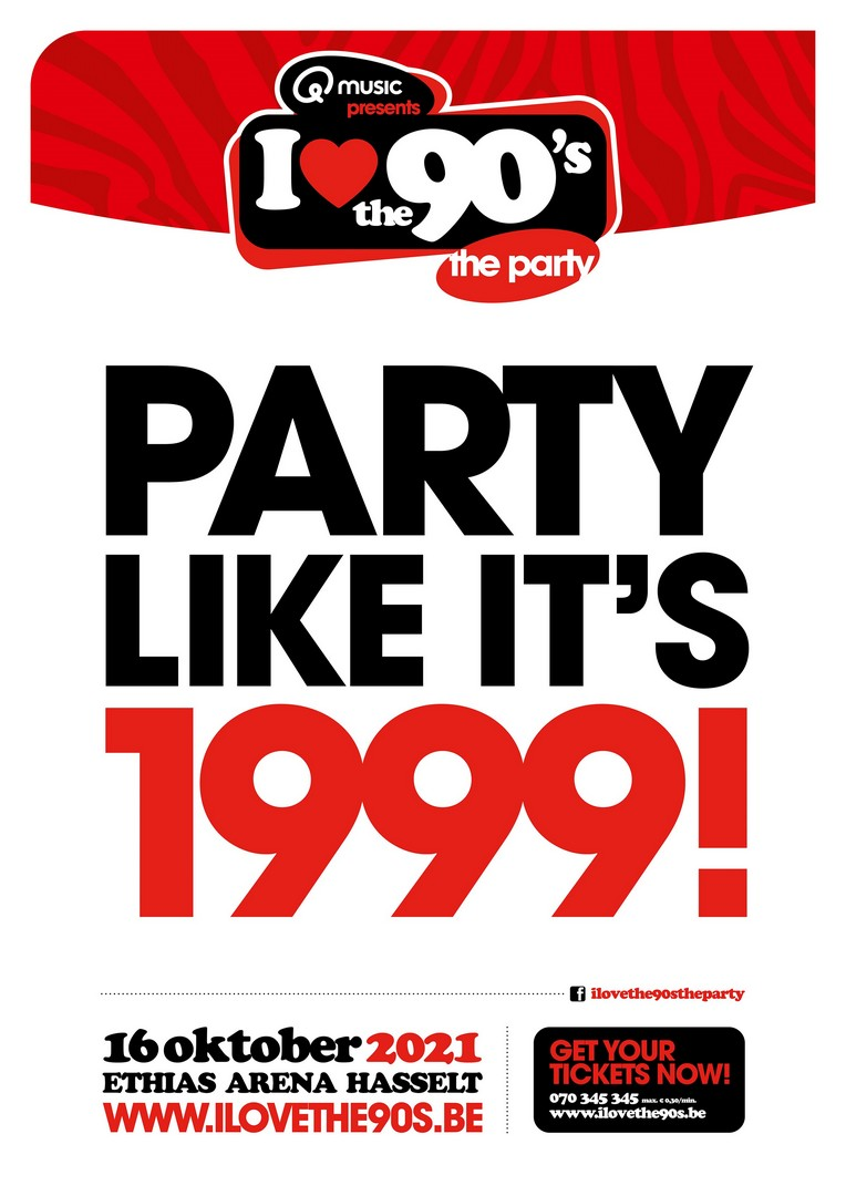 Livestream Op 17 april en op 16 oktober 2021 kan je in de Hasseltse Ethias Arena terug naar I love the 90s. - Aankondiging Party like its 1999