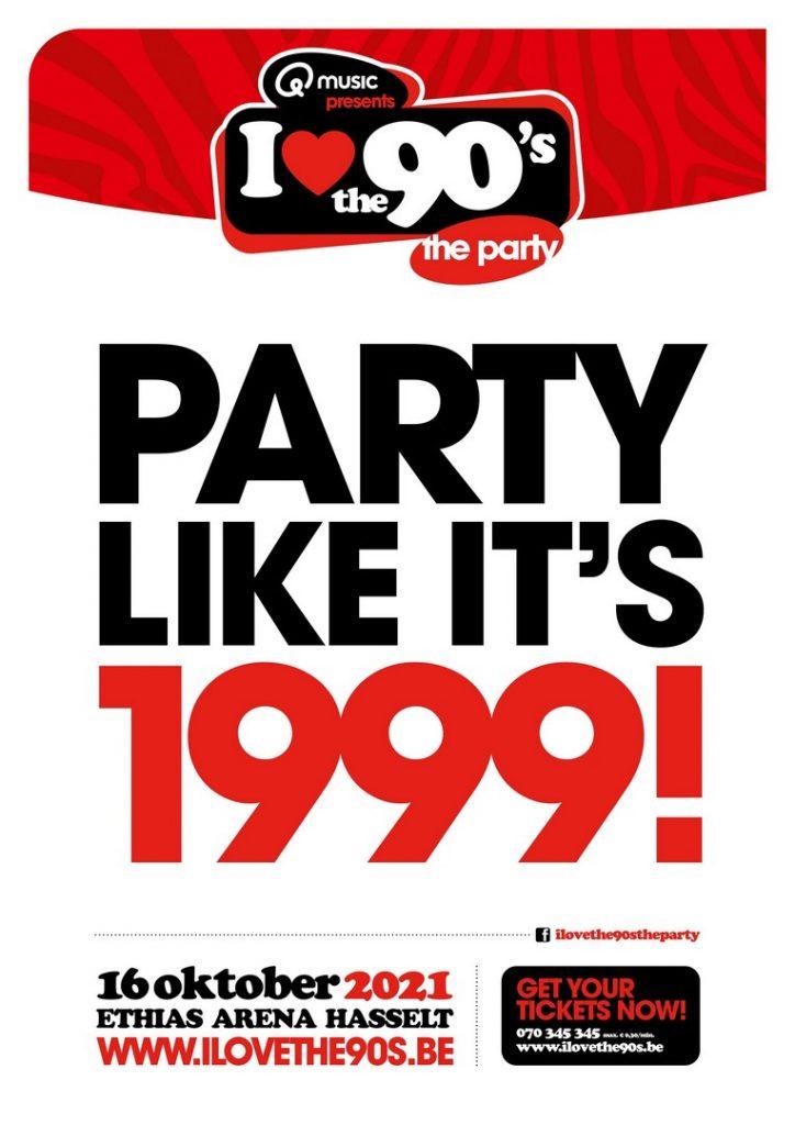 I Love the 90's Over exact 90 dagen in Hasselt - Aankondiging Party like its 1999