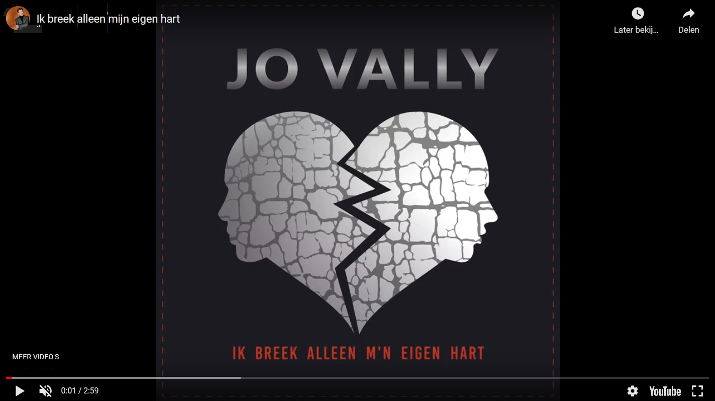Jo Vally heeft een nieuwe single, Ik breek alleen m'n eigen hart